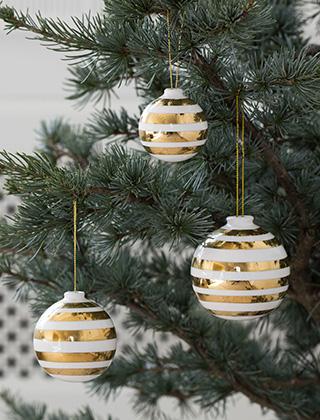 Designer Christbaumkugeln.Stark Reduziert Kähler Design Omaggio Christmas Edition Gold