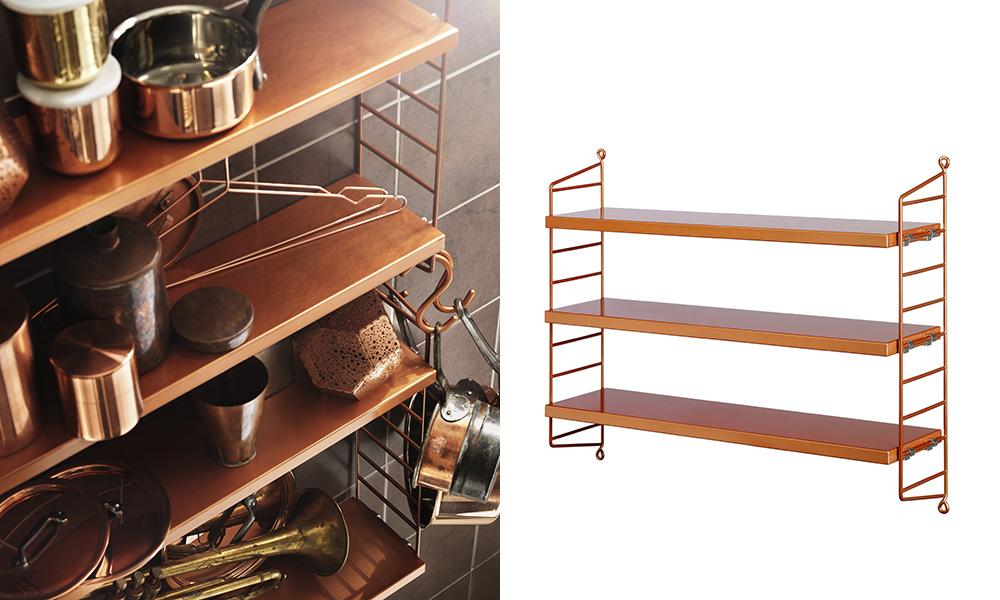 string regal pocket kupfer skandinavische wohnaccessoires. Black Bedroom Furniture Sets. Home Design Ideas